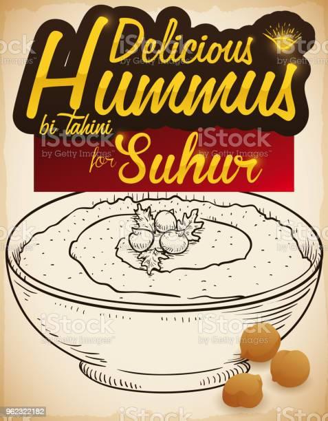 Delicious hummus dish and chickpeas for suhur breakfast during vector id962322182?b=1&k=6&m=962322182&s=612x612&h=1hql7ym1cahfruiildswtpnwd7dus8ixftuhscbjpbc=