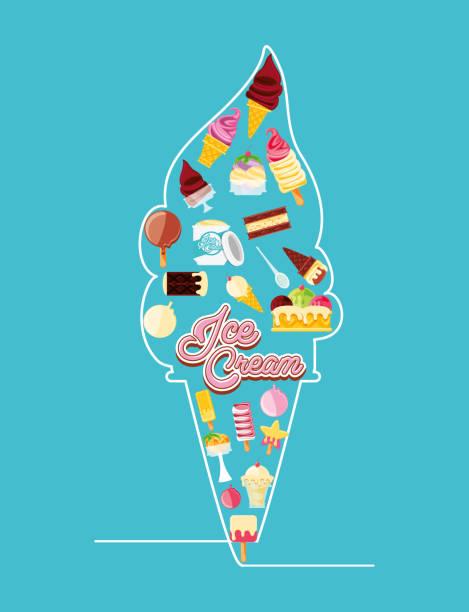 delicious ice cream cone neon lights vector art illustration
