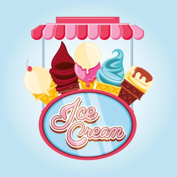 delicious ice cream cones vector art illustration