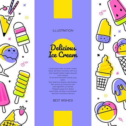 Delicious ice cream - vector line design style banner