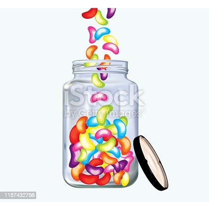 Colorful delicious jellybeans in jar on white background