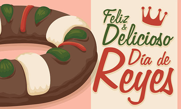 illustrations, cliparts, dessins animés et icônes de delicious king's cake and greeting message in spanish for epiphany - galette des rois