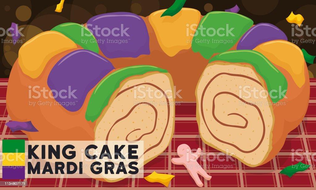 Delicious King's Cake and Toy Ready for Mardi Gras Carnival - Royalty-free Arte, Cultura e Espetáculo arte vetorial