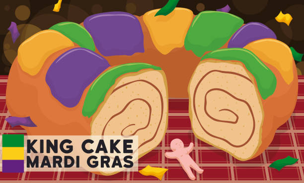 delicious king's cake and toy ready for mardi gras carnival - mardi gras cartoons stock illustrations, clip art, cartoons, & icons