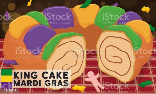 Delicious Kings Cake And Toy Ready For Mardi Gras Carnival - Arte vetorial de stock e mais imagens de Arte, Cultura e Espetáculo