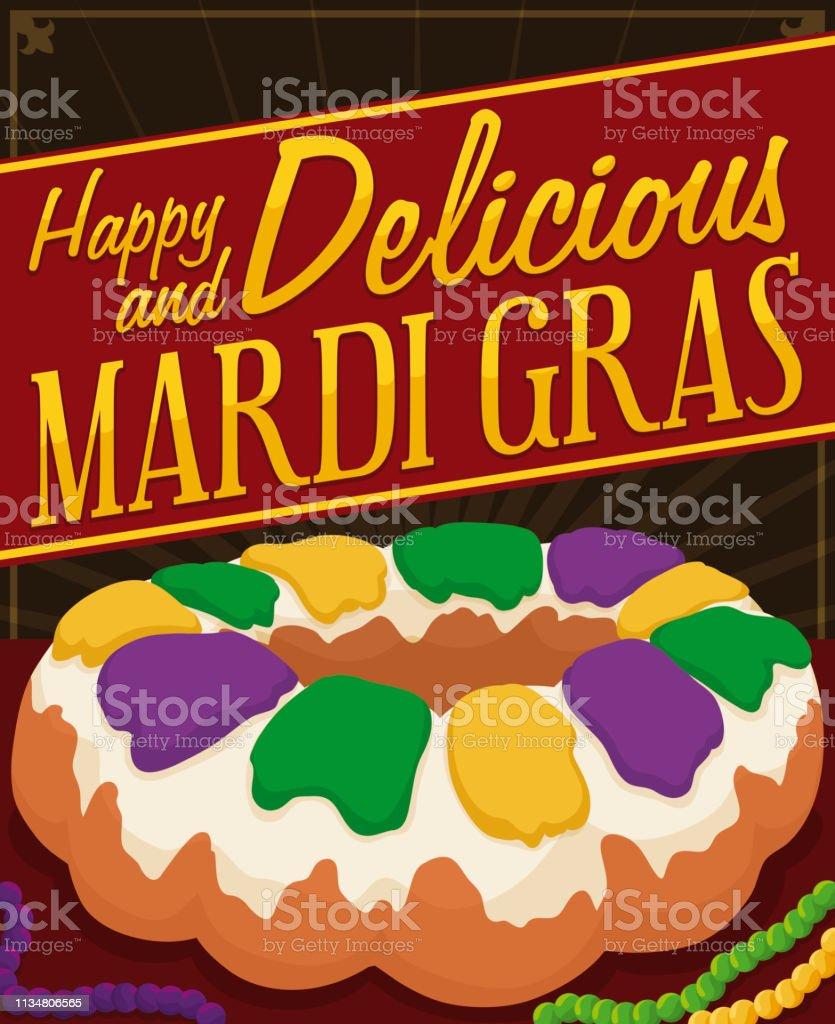Delicious King's Cake with Necklaces to Celebrate Mardi Gras - Royalty-free Arte, Cultura e Espetáculo arte vetorial