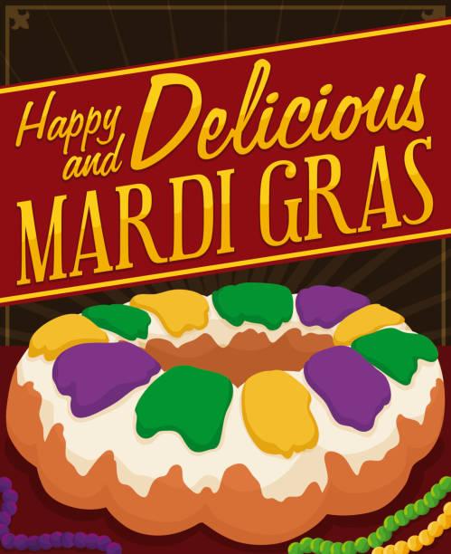 illustrations, cliparts, dessins animés et icônes de délicieux gâteau du roi avec des colliers pour célébrer le mardi gras - galette des rois