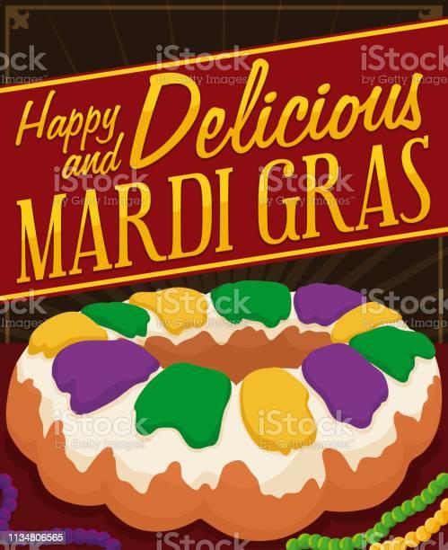 Delicious Kings Cake With Necklaces To Celebrate Mardi Gras - Arte vetorial de stock e mais imagens de Arte, Cultura e Espetáculo
