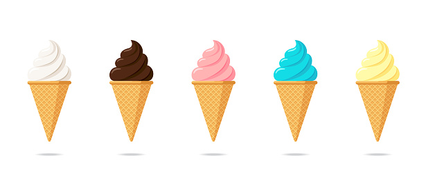 Delicious multicolor ice cream in waffle cone set. Vanilla chocolate and pistachio strawberry taste isolated twisted ice-cream on white background. Cute cartoon style product design illustration
