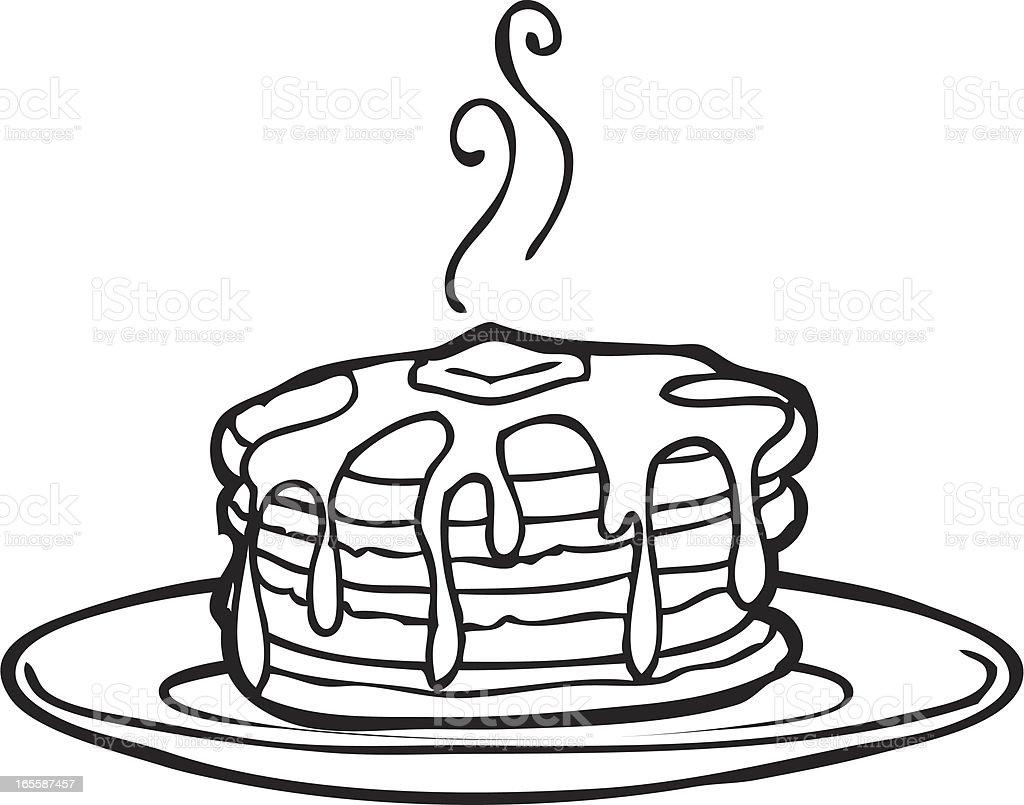 美味しいパンケーキ線画 - おやつのロイヤリティフリーベクトルアート