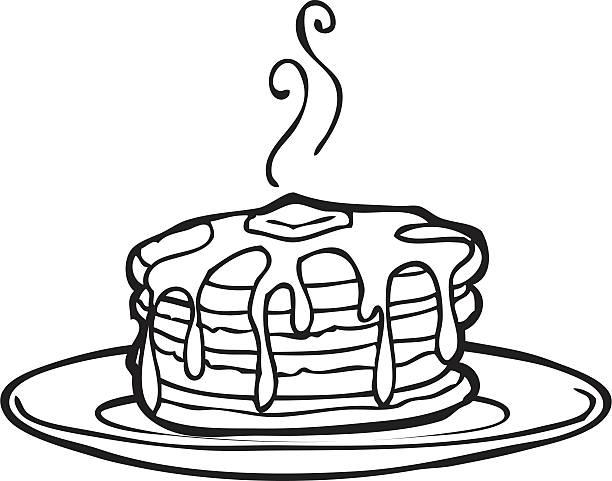 美味しいパンケーキ線画 - パンケーキ点のイラスト素材/クリップアート素材/マンガ素材/アイコン素材