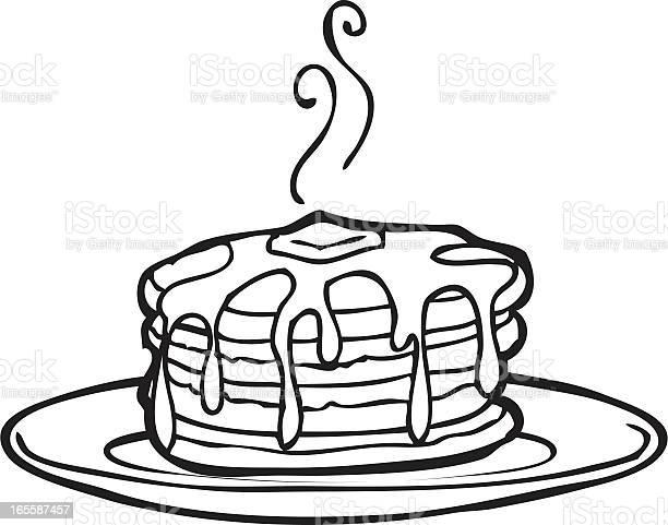 美味しいパンケーキ線画 - おやつのベクターアート素材や画像を多数ご用意