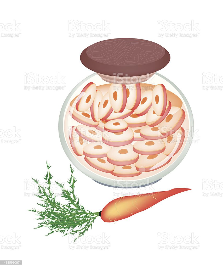 Delicious Pickled Carrot Roots in A Jar royalty-free stock vector art