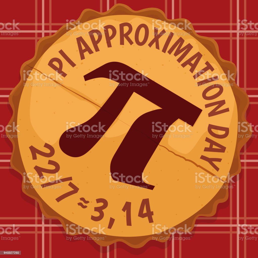 Delicious Pie With Pi Symbol For Pi Approximation Day Stock Vector
