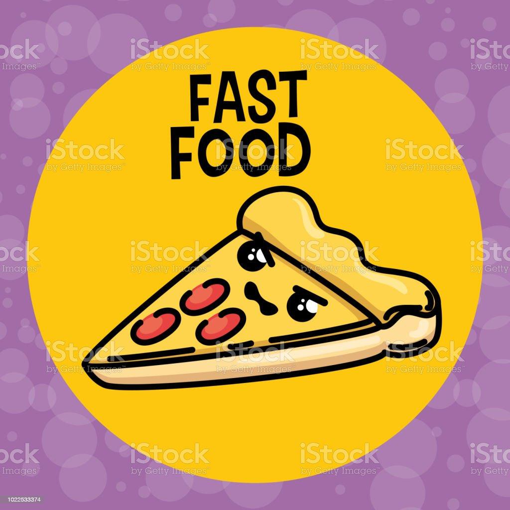 Leckere Pizza Kawaii Charakter Stock Vektor Art Und Mehr