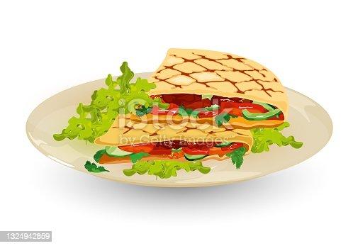 istock Delicious quesadillas on plate 1324942859