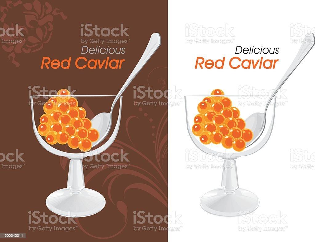 Delicious red caviar. Labels for design vector art illustration