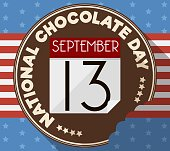 Round button all covered in chocolate half bitten with loose-leaf calendar and reminder date over American design for National Chocolate Day.