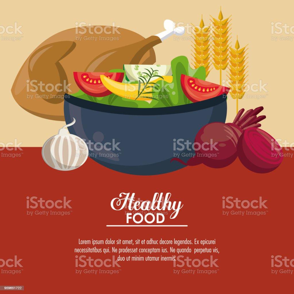 Comida sana ensalada deliciosa - arte vectorial de Ajo libre de derechos