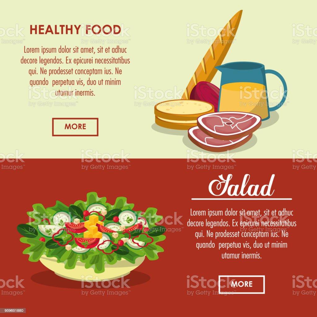 Comida sana ensalada deliciosa - arte vectorial de Alimento libre de derechos