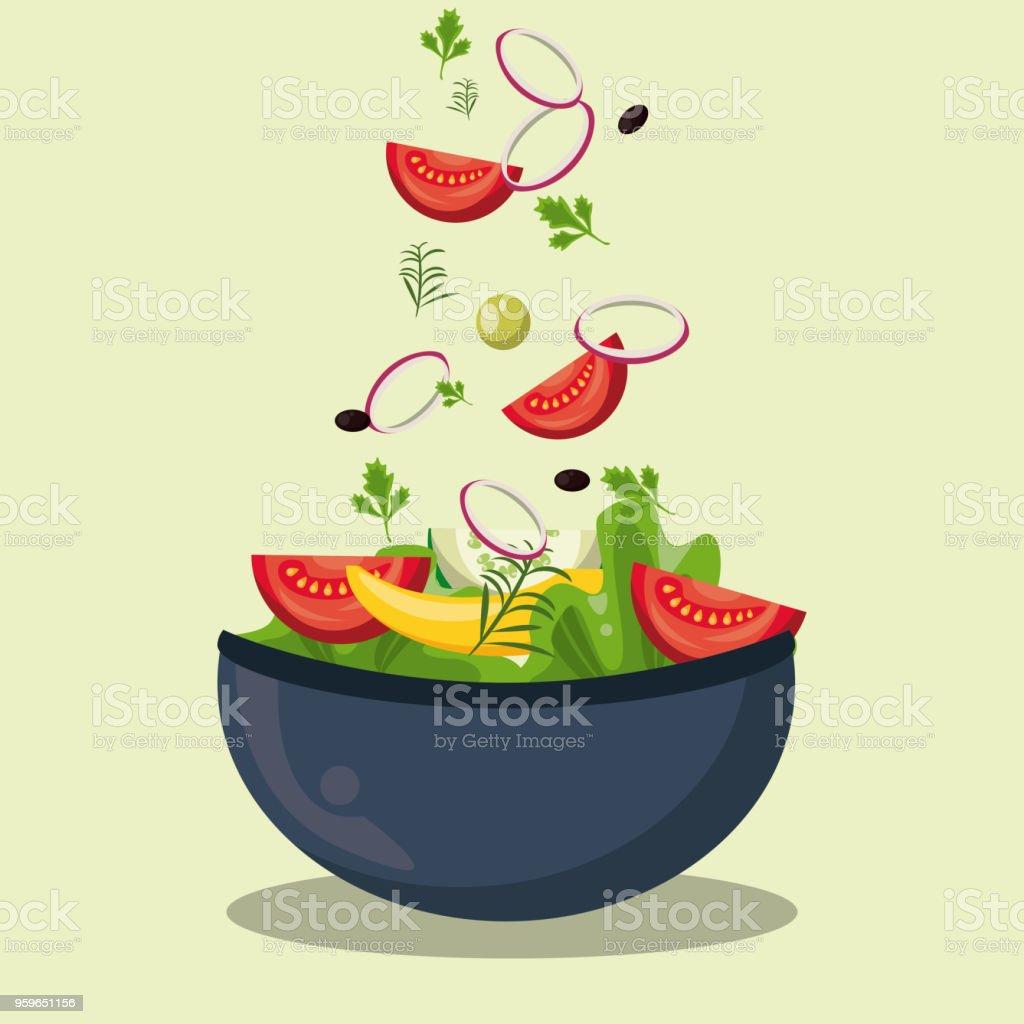 Deliciosa ensalada en Bol - arte vectorial de Alimento libre de derechos