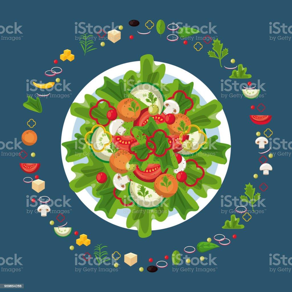 Deliciosa ensalada con ingredientes - arte vectorial de Alimento libre de derechos