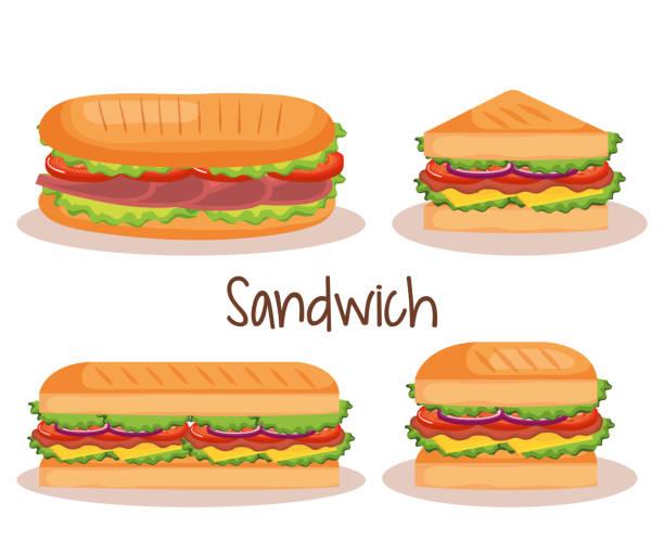illustrazioni stock, clip art, cartoni animati e icone di tendenza di delicious sandwich fast food set icons - panino