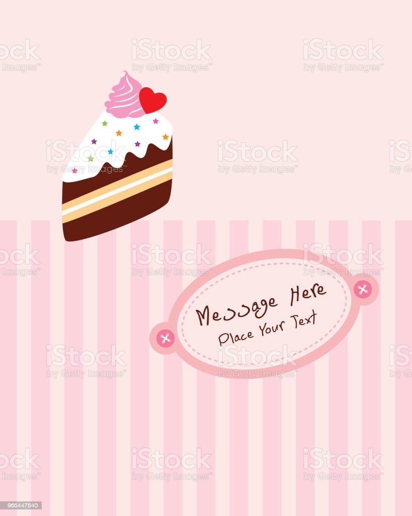 맛 있는 조각 케이크 생일 인사말 카드 - 로열티 프리 귀여운 벡터 아트