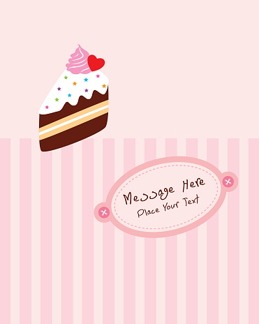 맛 있는 조각 케이크 생일 인사말 카드 귀여운에 대한 스톡 벡터 아트 및 기타 이미지
