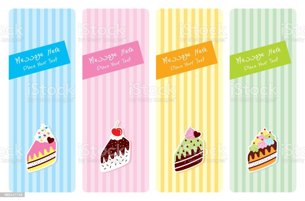 jeu de carte de voeux tranche délicieux gâteau - clipart vectoriel de Acclamation de joie libre de droits
