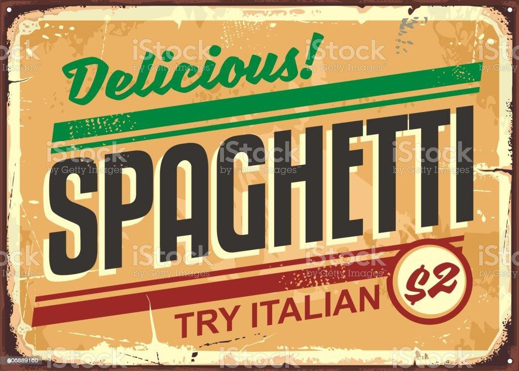 Delicious spaghetti meal vintage sign board vector art illustration