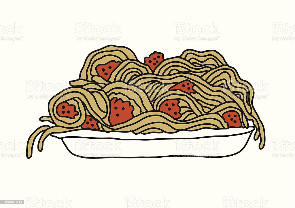 Delicious Spaghetti with meat illustration royalty-free stock vector art