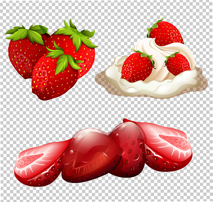 A Delicious Strawberry Dessert Menu Stock Illustration - Download Image Now