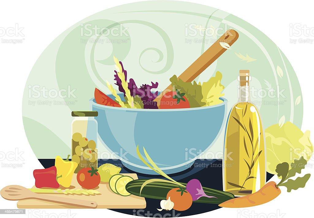 Delicious Summer Salad vector art illustration