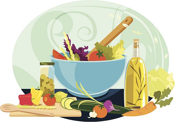 köstliche sommer-salat - dressing stock-grafiken, -clipart, -cartoons und -symbole