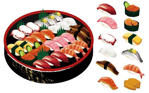 Delicious sushi vector illustration material / hangiri / takeaway