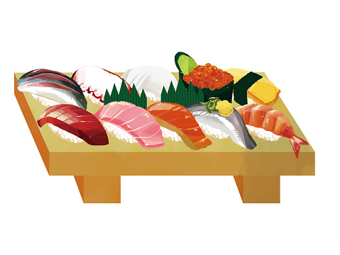 Delicious sushi vector illustration material / sushi clogs / takeaway