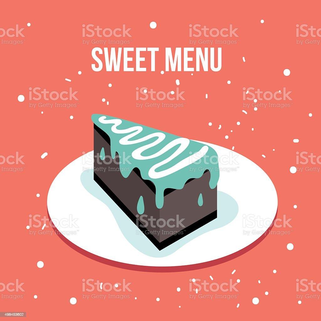 Delicious Sweet Cake Dessert Plate Modern Cute Flat Design Style