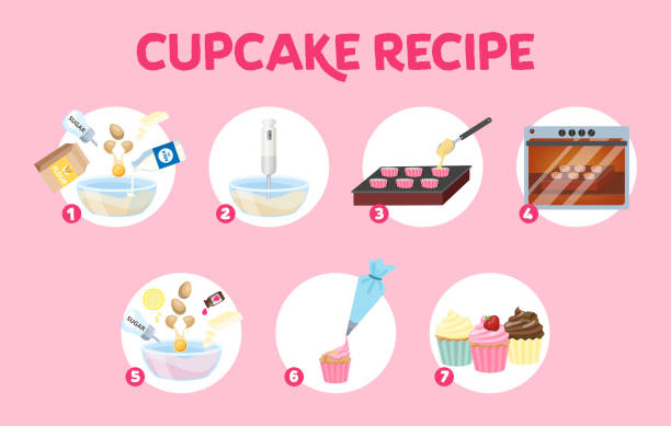 Delicious sweet cupcake recipe vector art illustration