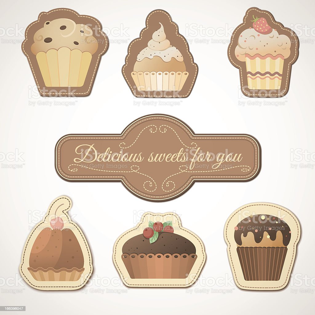 Delicious sweets: a set of cards with muffins royalty-free stock vector art