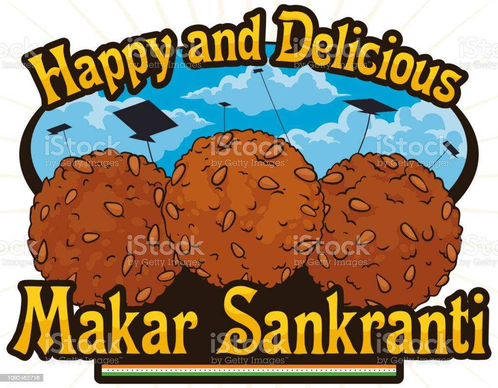 Delicious Til Laddu Desserts ready for Indian Makar Sankranti Celebration
