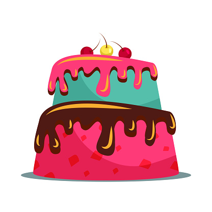 Delicious two tier cake flat vector illustration