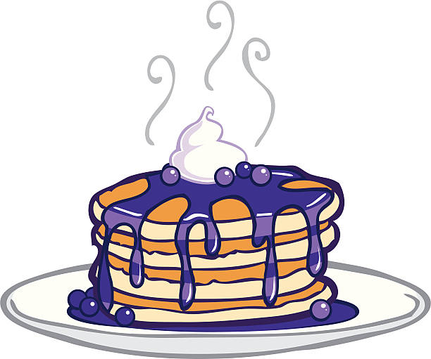 Royalty Free Stack Of Blueberry Pancakes Clip Art, Vector ...