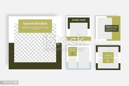 istock Delicous food social media post template 1291507985