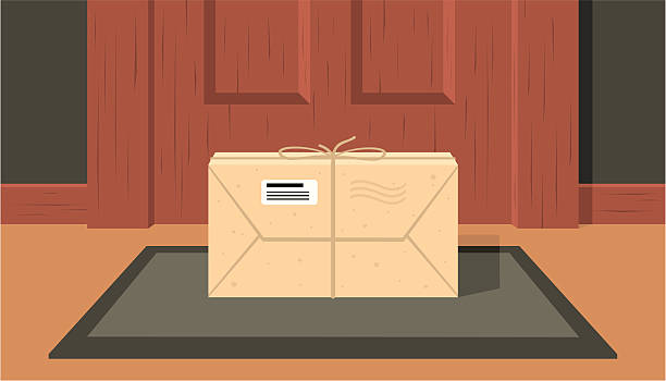delivered the parcel delivered the parcel at the door of the apartment front stoop stock illustrations