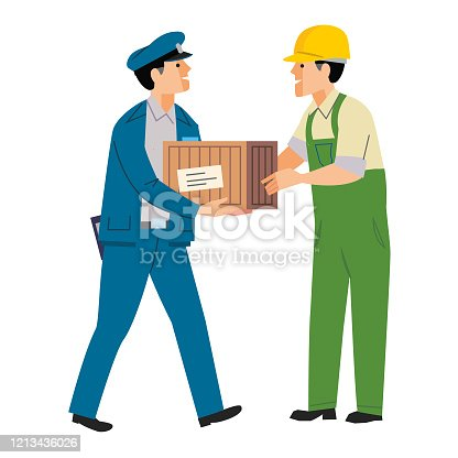 Courier delivering a wooden crate to a customer