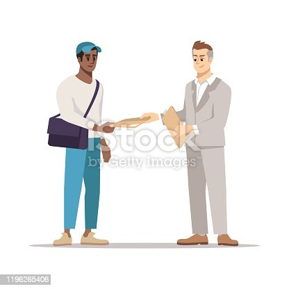 istock Delivering document to addressee flat illustration 1196265406