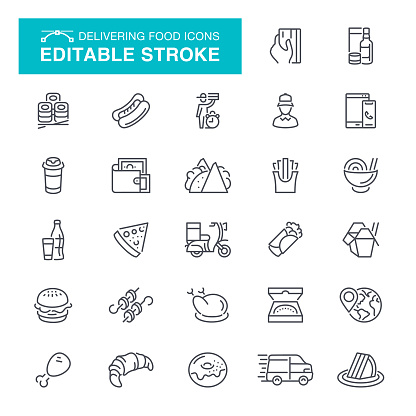 Restaurant, Delivery, Fast Food, Editable Stroke Icon Set
