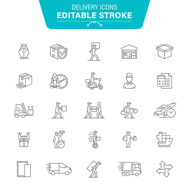 Delivering Icons Package, Delivery Man, Box - Container, Distribution Warehouse, Editable Stroke Icon Set front stoop stock illustrations