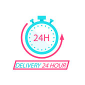 Delivery 24 Hour Stopwatch Background Vector Image